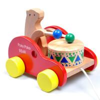 宝宝儿童拖拉线学步车小熊敲鼓打木制拖拉玩具车早教益智玩具