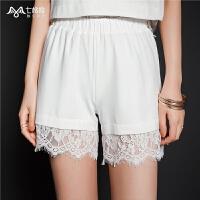 七格格休闲短裤女装2019新款夏装韩版雪纺裤宽松显瘦高腰白色蕾丝