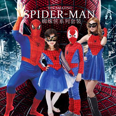 万圣节服装蜘蛛侠成人儿童男女衣服化装舞会cosplay紧身衣演出服 请备注所拍的码号