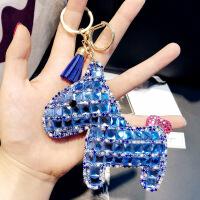 韩版满钻小马汽车钥匙扣男士女款个性皮质小马钥匙链包包挂件批发 OPP袋包装