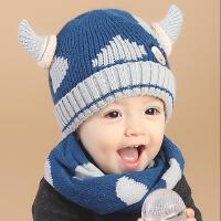 宝宝帽子秋冬天毛线帽保暖两件套针织围巾男女儿童套头帽婴儿帽子