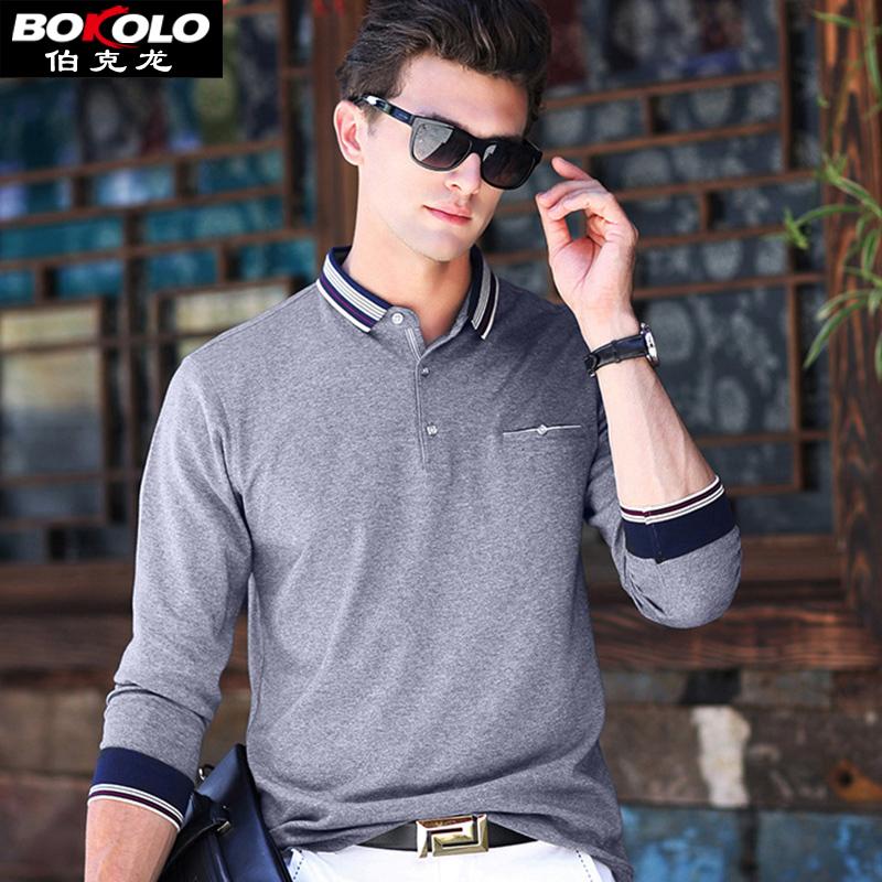 伯克龙 长袖T恤男士纯色棉质翻领 青中老年男装宽松商务休闲POLO衫上衣A8882丝滑垂坠,简约百搭,标准尺码