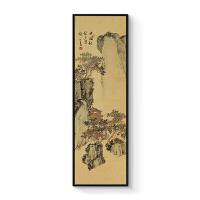 新中式装饰画客厅书房现代中国画办公室大气老板水墨挂画溥儒山水 40x140cm嵌框 单幅价格 黑色