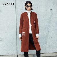 Amii极简韩版小香风手工100%羊毛毛呢外套女2018冬新西领印花大衣