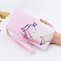 七夕礼物钱包女长款女士钱夹2018新款印花日韩版拉链个性多功能手机手拿包 粉色