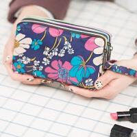 手拿包帆布三层长款钱包女士手包大容量钥匙零钱休闲手机包