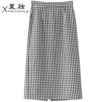 夏妆2018春装新款韩版下摆开叉中长款过膝高腰包臀裙女黑白格子半身裙 黑白格