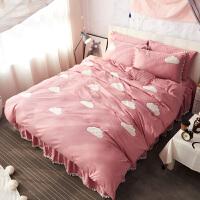 棉床罩床裙四件套1.5m粉色公主风棉色双人被套单人床三件套 2.0m床(被套220*240 床裙200*220