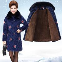 羽绒服 新品女中老年女装冬装棉袄中长款新款妈妈装金丝绒棉衣加绒加厚外套