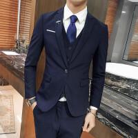 结婚西服套装男新郎2017修身帅气男士单扣西装三件套韩版英伦西服