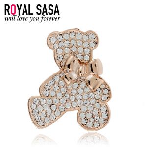 皇家莎莎Royalsasa韩国流行前线甜美情怀明星款镶钻胸针可爱胸花-晶钻泰迪熊