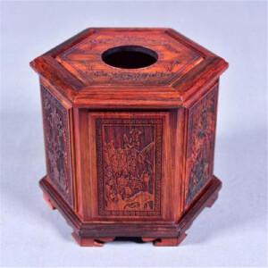 大红酸枝六角纸巾盒 16 14 14
