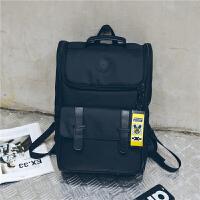 5港风双肩包日式简约男士书包女学生韩版校园大容量旅行电脑背包潮 黑色