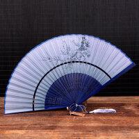 日式折扇中国风女式扇子绢扇樱花和风工艺古风折叠小扇女扇 抖音