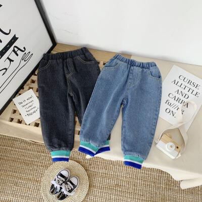 童装秋冬季宽松裤子女童牛仔裤儿童外穿宝宝保暖长裤