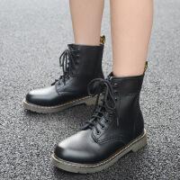 冬季马丁靴中跟厚底黑色圆头加绒英伦风高帮棉鞋女短靴学生潮靴子