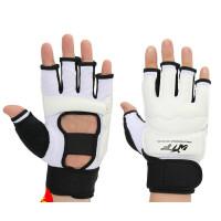 跆拳道手套散打手套拳击手套儿童搏击半指打拳击沙袋护手拳套 白色XS (身高110-130cm) 透气防护