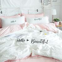 舒适全棉刺绣水洗棉四件套1.51.8裸睡肤公主风纯棉床上用品套件
