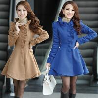 毛呢外套女中长款秋冬韩版宽松小香风妮子修身甜美矮个子呢子大衣