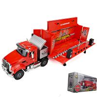 凯迪威合金双层房车模型1:50旅行变形豪华房车车模男孩玩具工程车 移动舞台车 红 礼盒
