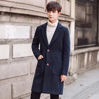 秋冬风衣男韩版秋季新款中长款大衣修身学生帅气披风男士外套