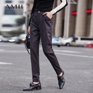 Amii[极简主义]宽松长裤女冬装2017新款通勤挺阔几何插袋休闲裤