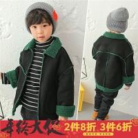 男童加绒外套2017新款韩版童装冬装儿童皮毛一体夹克羊羔绒加厚