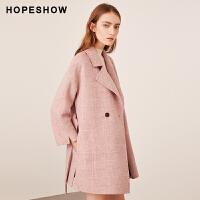 红袖冬装流行粉色格子双面呢羊绒大衣