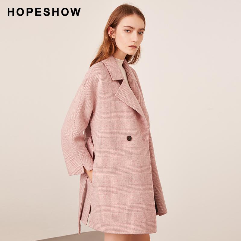 红袖冬装流行粉色格子双面呢羊绒大衣 系带设计 格纹元素 经典时尚