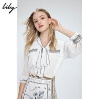 【LILY超品/限时一口价:239】Lily2020夏季新款女装仙气纱纱袖显瘦灯笼袖白色上衣衬衫雪纺衫120209C8