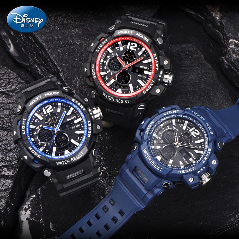 新款迪士尼电子表男学生大表盘防水青少年潮流夜光运动多功能手表