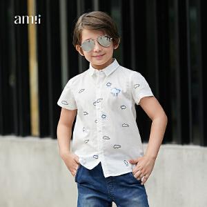 【尾品汇 5折直降】amii男中大儿童衬衫2018夏装新款韩版潮帅气上衣12-15岁男孩
