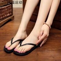 夏季女人字拖纯色韩版拖鞋平底女防滑沙滩鞋女夹板托鞋休闲凉拖鞋