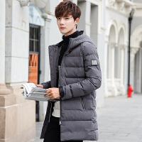 新款冬季棉衣男韩版青年加厚修身中长款潮流冬装男士棉袄外套 浅灰色 M