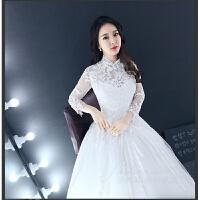 婚纱礼服新款秋冬新娘结婚韩式一字肩长袖大拖尾婚纱齐地婚纱