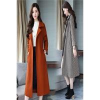 韩版系带收腰修身女精品中长款冬装风衣外套2017冬季新款毛呢大衣