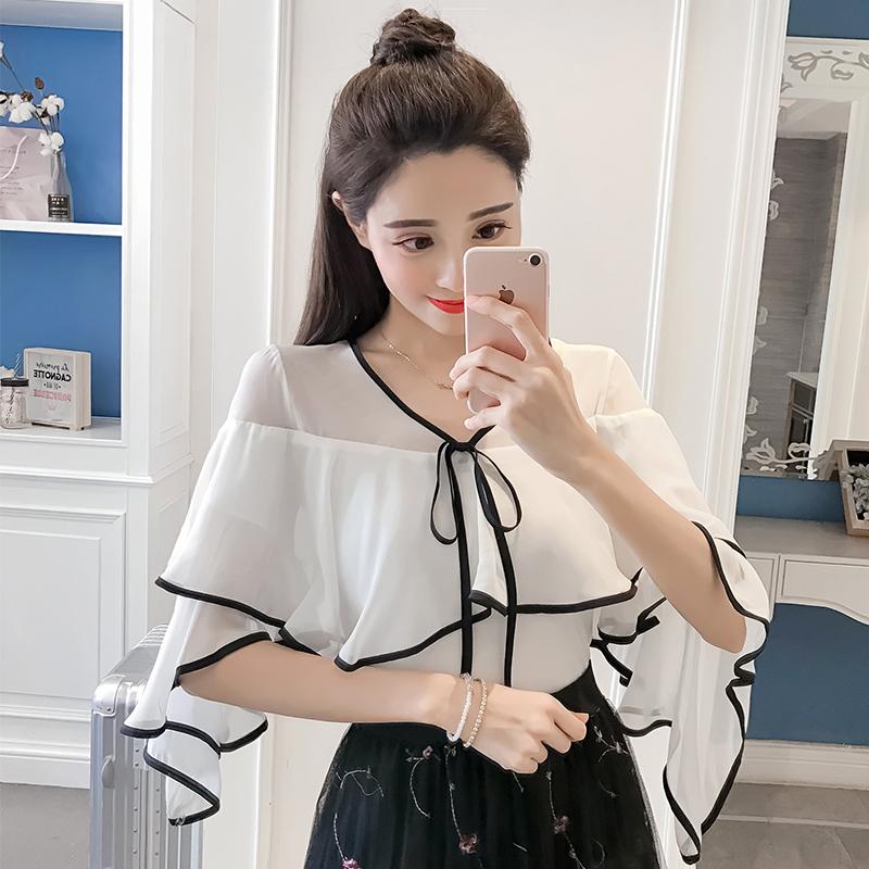 2018春夏装新款韩版修身V领喇叭袖上衣女荷叶边雪纺衬衫衬衣小衫