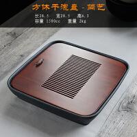 创意碳化竹制家用茶盘储水嵌入式方形干泡台中号复古陶瓷