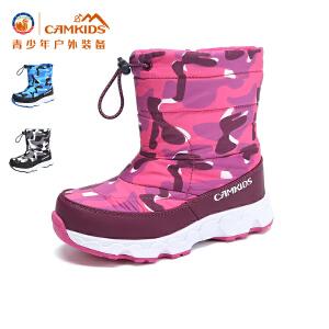 CAMKIDS儿童鞋户外棉靴2017冬季新款女童雪地靴加绒保暖靴子