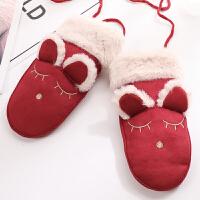 可爱卡通毛绒兔耳女童冬季保暖加绒韩版儿童棉手套挂脖大童小学生