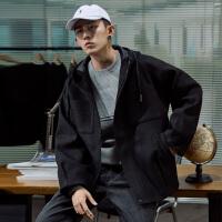 [2.5折价249.5元】唐狮冬季连帽仿毛呢外套男士青年港风宽松黑色夹克