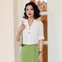衬衫女韩版休闲V领雪纺春装2020款打底内搭女士职业气质短袖上衣