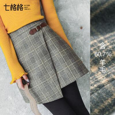 七格格格子a字半身裙女毛呢秋冬装季新款韩版百搭时尚高腰短裙子型