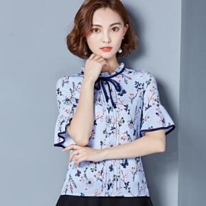2018夏装新款韩版上衣系带碎花短袖衬衫印花喇叭袖雪纺衫女