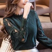 秋装新款大码蕾丝上衣女装镂空半高领套头韩版修身长袖打底衫 墨绿色