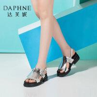 Daphne/达芙妮女鞋夏季撞色流苏厚底舒适女凉拖鞋-