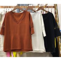 S2春夏2018冰丝修身七分袖打底衫蕾丝花边针织衫女套头上衣薄0.25