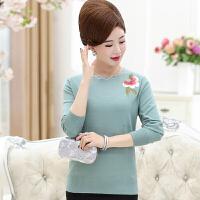 中老年女装秋冬羊毛衫40-50岁妈妈妇女花边领套头绣花毛衣针织衫