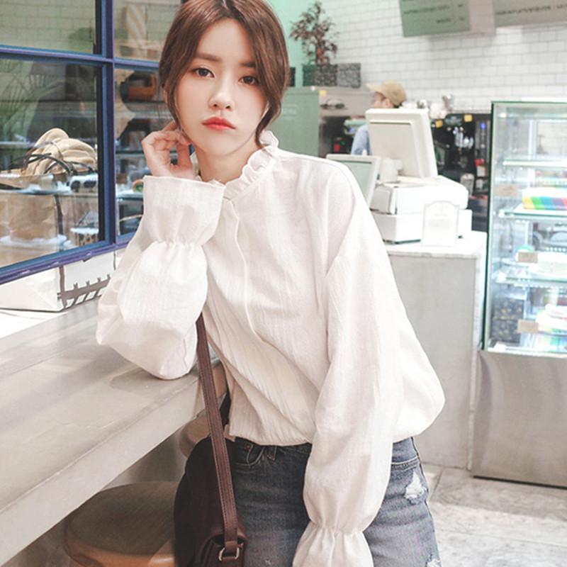 2018春夏装新款韩范百搭学生灯笼袖白衬衫女长袖宽松泡泡袖衬衣潮