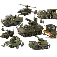小鲁班积木儿童拼装玩具6岁以上78军事9坦克战车10男孩子12
